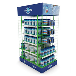 Floor metalic product displays